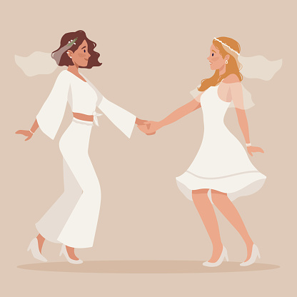 Lesbian homosexual couple wedding. Two happy women in veil, beautiful white dress. Brides holding hands on ceremony. LGBTQ same sex family, marriage. Pride, equal rights. Flat vector illustration
