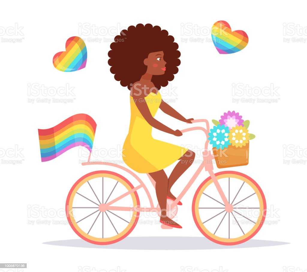 Lesbian Riding A Bike Vector Stock Illustration - Download