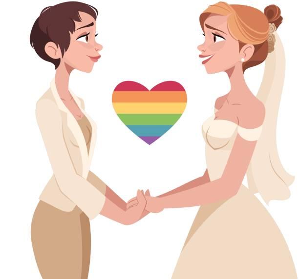 ilustrações, clipart, desenhos animados e ícones de lésbica de casamento - casais do mesmo sexo