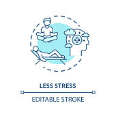 Less stress turquoise concept icon. Meditation for relaxation and rest. Coping mechanism. Mental health idea thin line illustration. Vector isolated outline RGB color drawing. Editable stroke