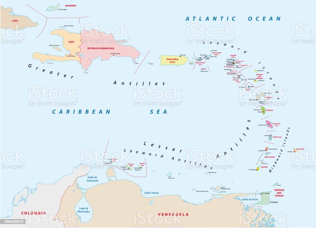bovenwindse eilanden kaart Kaart Van De Bovenwindse Eilanden Stockvectorkunst en meer beelden