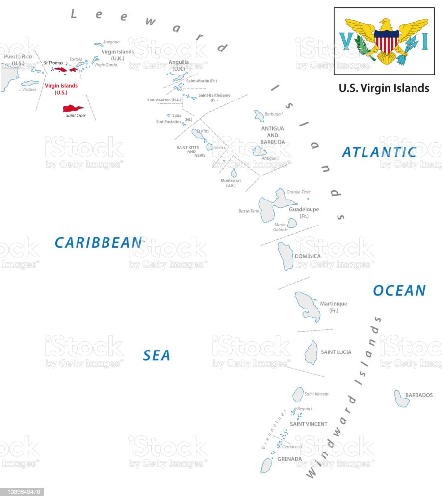 Lesser Antilles Over View Map With Us Virgin Island Map Stock Vector ...