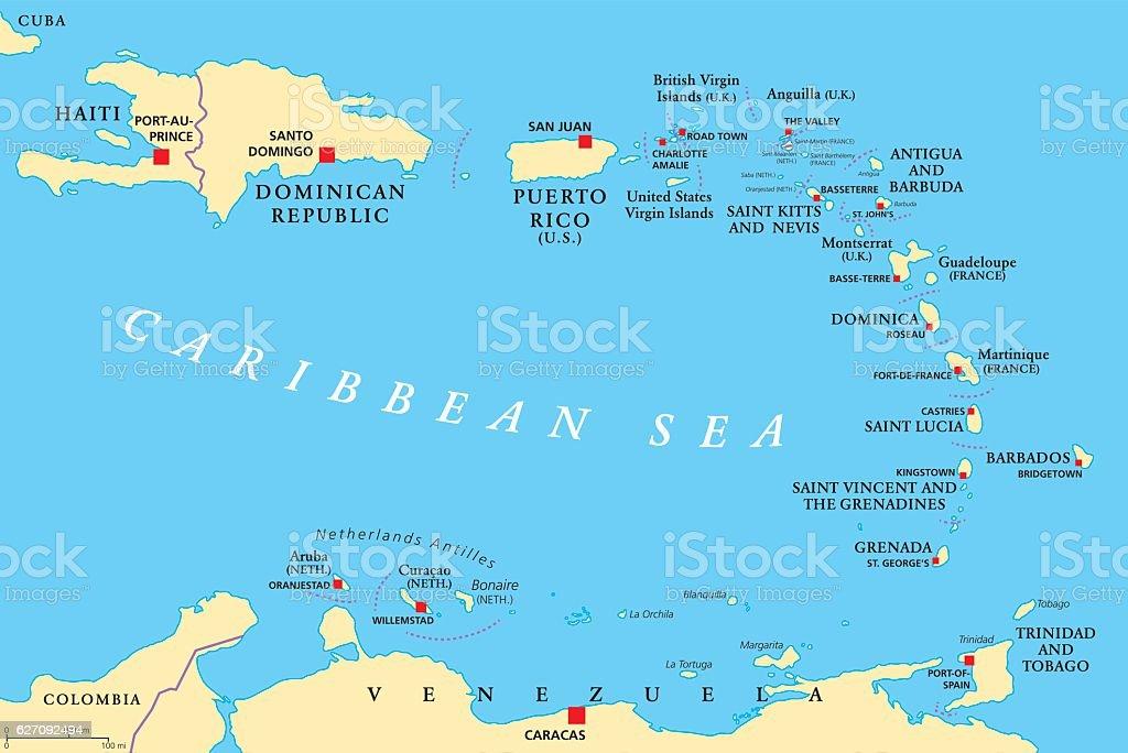 Lesser Antilles political map vector art illustration