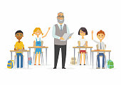 Lesson at school - cartoon people characters illustration with a standing teacher and happy children raising hands. Classroom with desks, chairs, bags. Perfect as a card, banner, poster