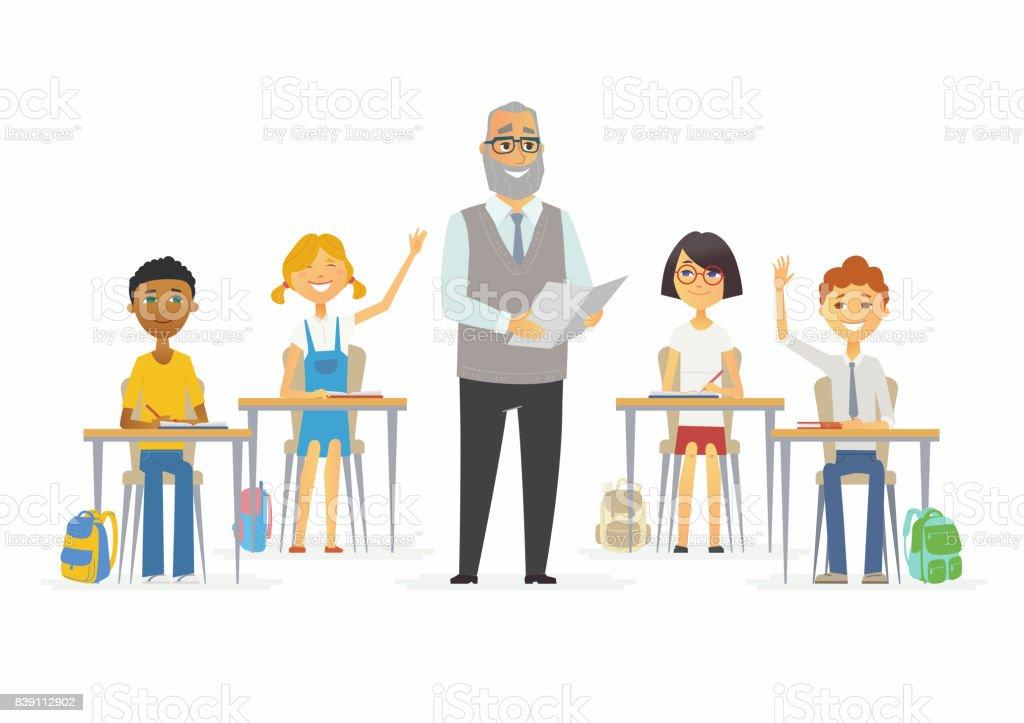 授業の学校 - 漫画人文字図 ベクターアートイラスト