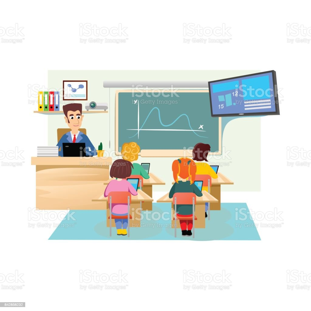 classroom table vector. lesson in classroom at school or college, teacher explains near desk front of table vector