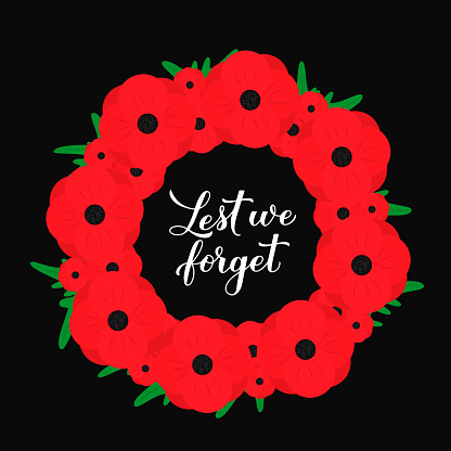 Lest we forget calligraphy hand lettering. Wreath of red poppy flowers symbol of Remembrance day. Holiday on November 11. Vector template for greeting card, typography poster, banner, flyer, sticker