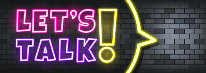 Let is talk neon text on the stone background. Let is talk. For business, marketing and advertising. Vector on isolated background. EPS 10