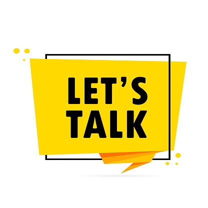 Let is talk. Origami style speech bubble banner. Sticker design template with Let is talk text. Vector EPS 10. Isolated on white background