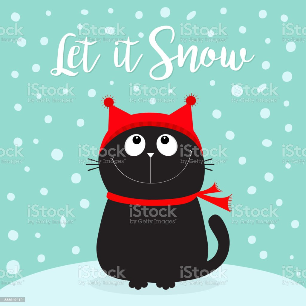 Let it snow. Black Cat kitten head face looking up. Kitty sitting on snowdrift. Red hat, scarf. Cute funny cartoon character. Merry Christmas. Flat design. Blue winter background with snow. vector art illustration