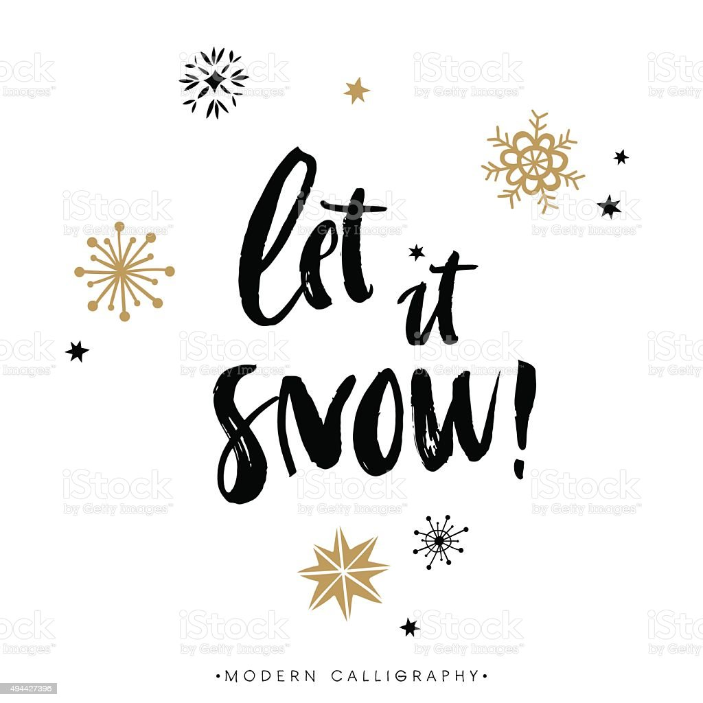 Let it snow christmas calligraphy stock vector art more