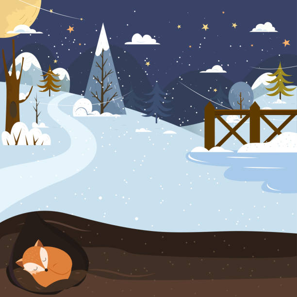 let it snow. fox sleeping in a hole. holiday background. - hibernation stock illustrations, clip art, cartoons, & icons