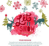 Vector illustration of a Let it snow hand lettered Christmas or Holiday greeting design on watercolor blob.