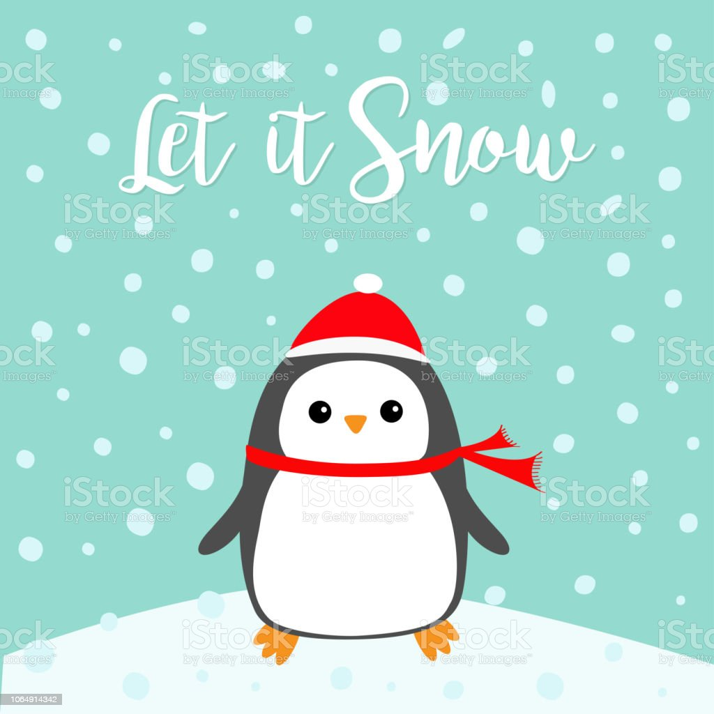 Ilustracion De Que La Nieve Pajaro De Kawaii Pinguino En Ventisquero