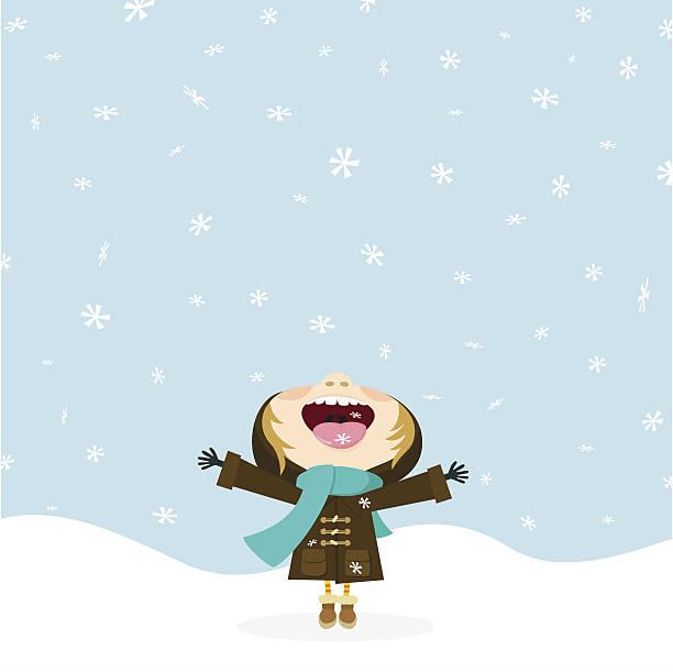 pada, pada śnieg. dziecko jedzenie płatków śniegu. zima. - happy holidays stock illustrations