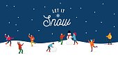 Let it snow people doing winter activities and having fun banner vector illustration. Cute and happy folk making snowman, playing snowballs and skiing. Happy holidays concept