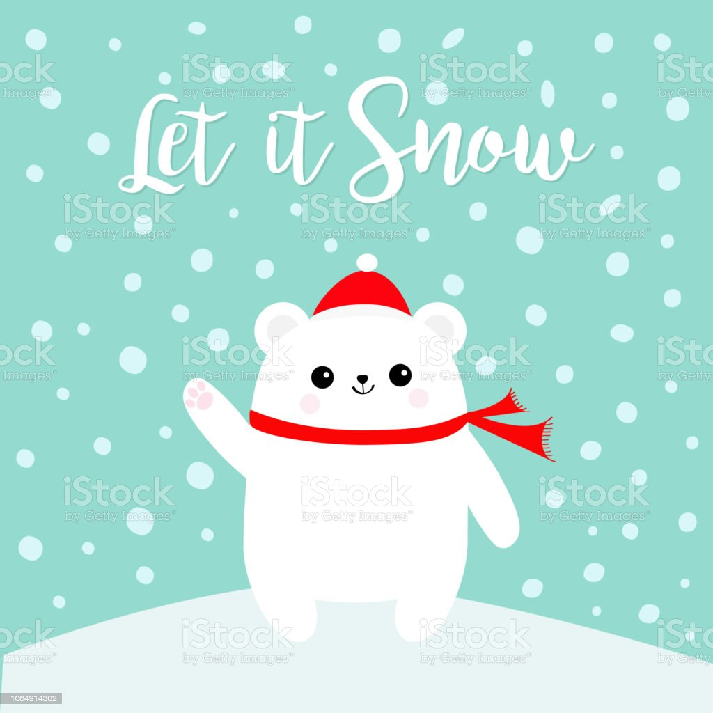 Lassen Sie Es Schnee Polar White Bear Cub Handabdruck Pfote Winken