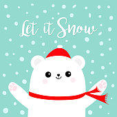 Let it snow. Polar white bear cub wearing red Santa Claus hat scarf. Head face, paw print. Cute cartoon smiling baby character. Arctic animal collection Flat design Winter background Snow flake