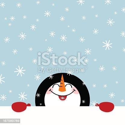istock Let it snow snowman happy illustration vector winter cute 167589789