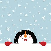 Let it snow snowman happy illustration vector winter cute