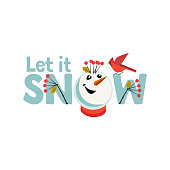 Holiday wishes Let it Snow. Fancy letters. Cartoon playful fun snowman snow ball. Template for Merry Christmas winter season greeting card background, comic fancy print. New Year vector illustration