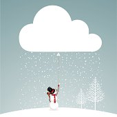 snowman and cloud.