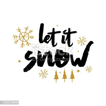 illustration vector graphic let it snow text. good for greeting card or invitation in holidays and merry christmas season.