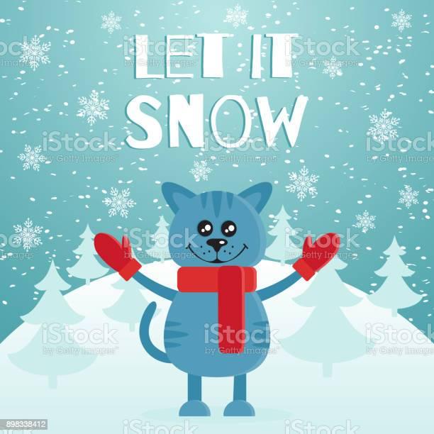 Let it snow the postcard or banner cute blue cat dressed in red scarf vector id898338412?b=1&k=6&m=898338412&s=612x612&h=nuwecokdg e7j57ywbkrctatjt8ttlwbhbb5mwz gj4=