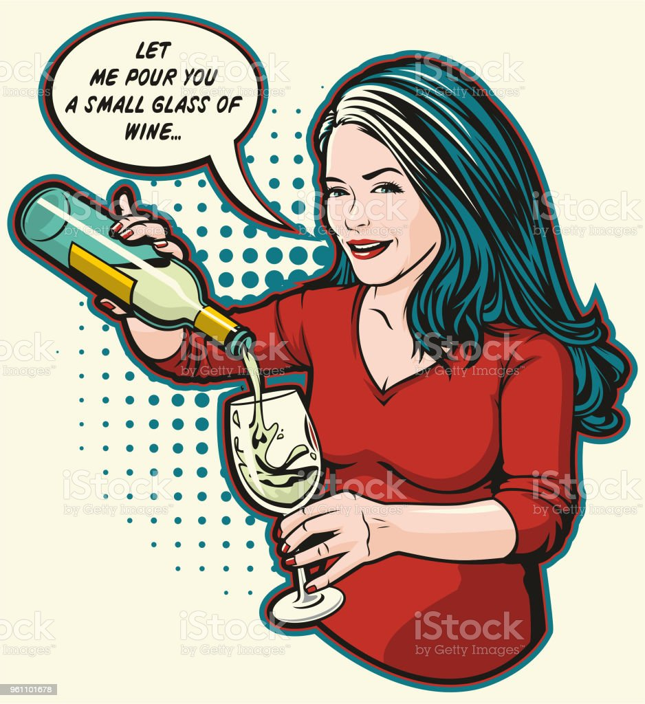Let Me Pour You A Glass Of Wine vector art illustration
