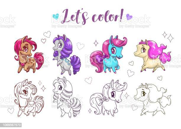 Let s color pony funny cute cartoon little chibi horses colorful and vector id1069567570?b=1&k=6&m=1069567570&s=612x612&h=adhshlkecdezdglcmpsghn7s qkugx yqgf0v4wd6c0=