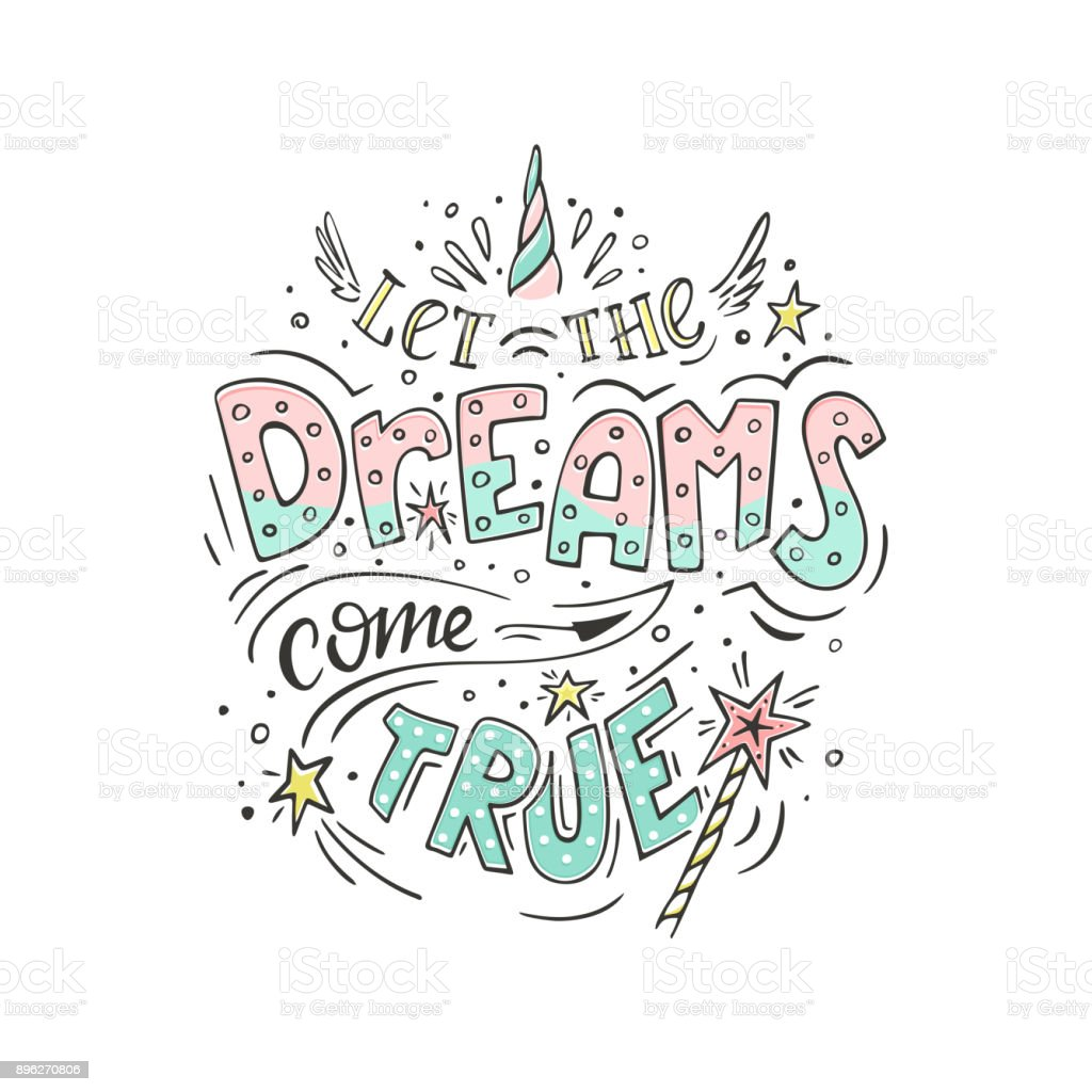 Let the dreams come true vector art illustration