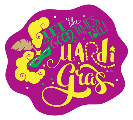Let the good times roll Mardi Gras lettering text greeting card