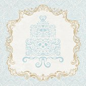 Lacy style, vintage inspired Marie Antoinette cake with ornate frame and damask wallpaper background. Layered file. Texture can be easily removed.