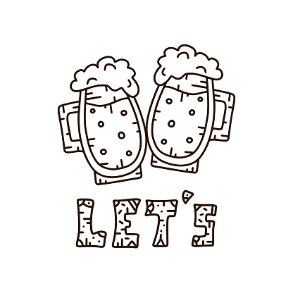 Let's and two clinking pints of beer. Vector lettering and picture in cartoon style
