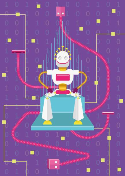 bildbanksillustrationer, clip art samt tecknat material och ikoner med låt oss vara anslutna. hur artificiell intelligens kommer att påverka i våra liv - tron sci fi