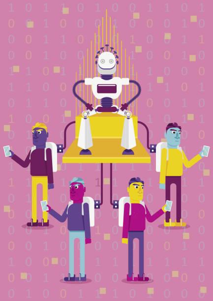 bildbanksillustrationer, clip art samt tecknat material och ikoner med låt oss vara anslutna. hur artificiell intelligens kommer att påverka våra liv - tron sci fi