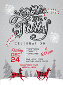 Let's be Jolly hand lettered text with Happy Holidays greeting design. Includes snowflakes and other holiday elements. Fully editable.
