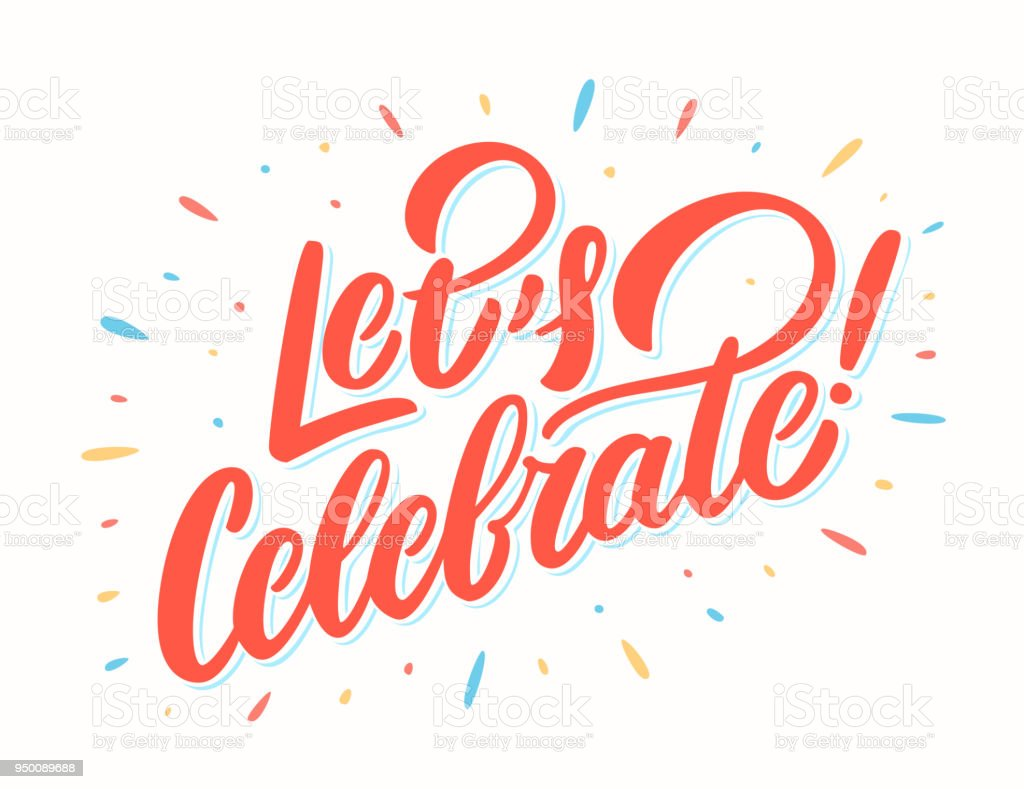Lets Celebrate Banner Vector Lettering Stock Illustration