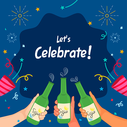 Let's Celebrate! Soju party background vector illustration. Cheers! Soju glass bottles with ribbon and confetti