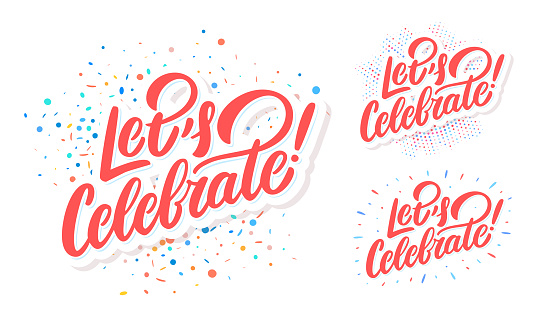 Let's celebrate. Vector banners set.
