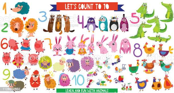 Lets count to 10big set with cartoon animals in flat style design of vector id1128512864?b=1&k=6&m=1128512864&s=612x612&h=zykpgdcqakl8pnlk40kvkkvszkv0a6s4d9f4hoifeky=