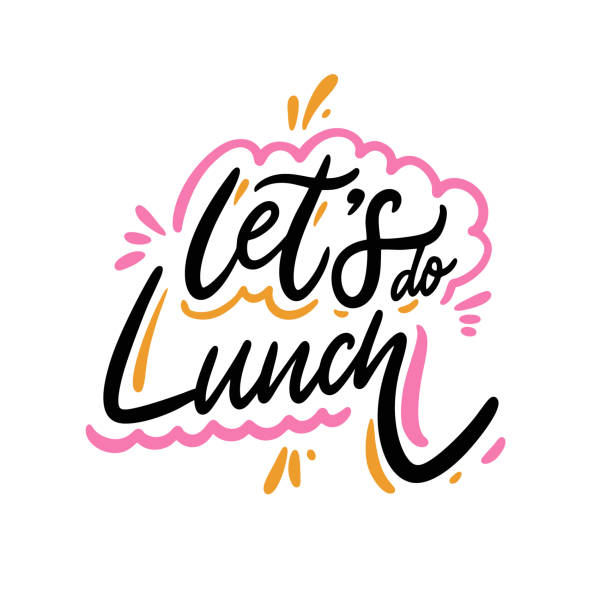 stockillustraties, clipart, cartoons en iconen met laten we lunchen. hand getrokken vector belettering zin. cartoon stijl. - lunch
