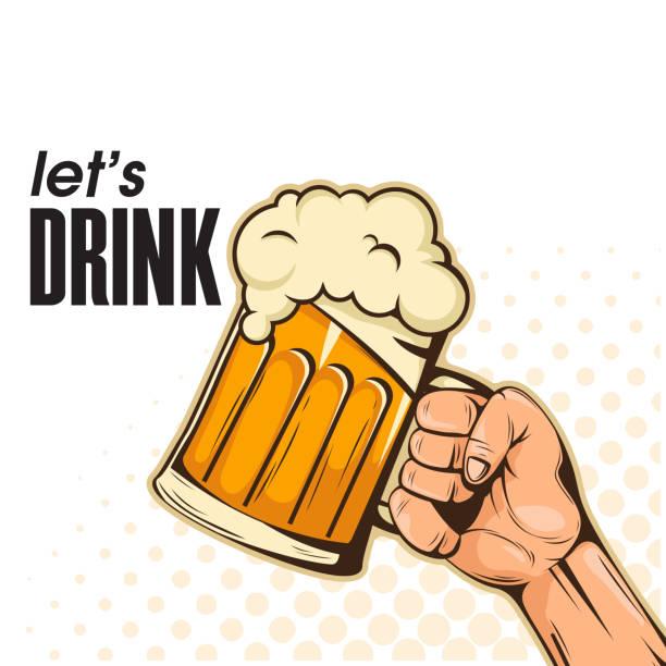 ilustrações, clipart, desenhos animados e ícones de vamos beber a mão segurando a imagem de vetor de fundo de cerveja - beer