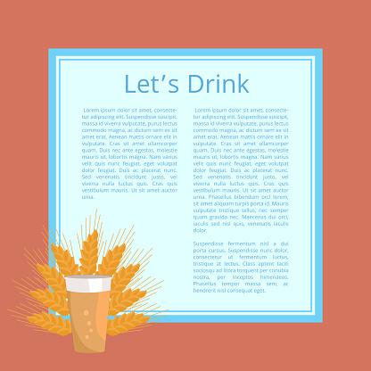 Lets Drink Pint of Beer Poster. Beverage in Glass