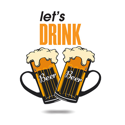 Let's Drink Two Mugs Beer Background Vector Image