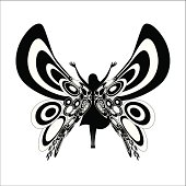Woman silhouette with retro butterfly wings.