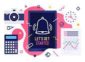 Let's Get Started Vector Illustration Design