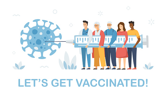 Let's Get Vaccinated - People Vaccination - Abstract Concept. Group of People Holding Syringe and Make Injection to Virus. Vector Stock Illustration