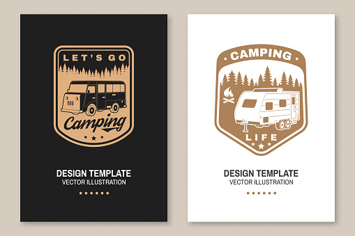 Lets go camping. Posters, banners, flyers. Vector Concept for shirt or logo, print, stamp or tee. Vintage typography design with RV Motorhome and forest silhouette. Camping quote.