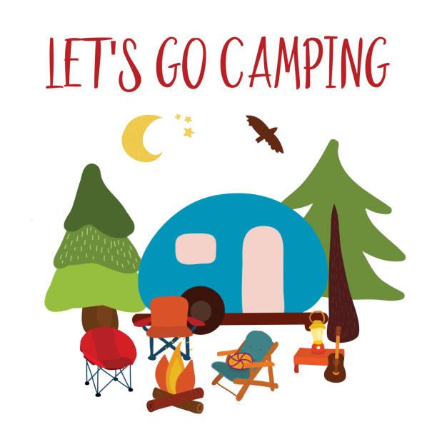 Lets go camping summer Travel vector illustration vector art illustration